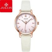 JULIUS 聚利時 經典時刻簡約皮錶帶腕錶-時尚白/29mm 【JA-1070D】