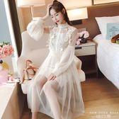 洋裝 韓版木耳邊半高領蕾絲裙 吊帶裙兩件套連身裙