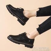秋季新款真皮小皮鞋女英倫風平底單鞋秋款百搭休閒鞋黑色女鞋 簡而美