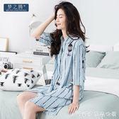 夏季睡衣女士新款韓版開衫中短袖睡裙純棉襯衫領中長款家居服 糖糖日系森女屋