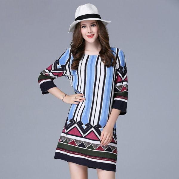 大尺碼 歐美時尚彩色大直條紋七分袖連衣裙洋裝XL~5XL【紐約七號】A2-563