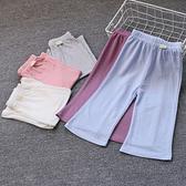 兒童冰絲薄闊腿褲 女童七分九分喇叭褲 防蚊防曬家居睡褲