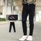 牛仔褲 破壞感抽鬚割破九分窄版牛仔褲【N...