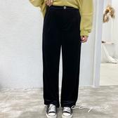 中大尺碼 黑色修身絲絨寬褲  - 適XL~4L《 79179 》CC-GIRL