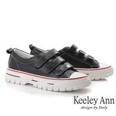Keeley Ann經典素面 百搭魔鬼氈全真皮休閒鞋(黑色) -Ann系列