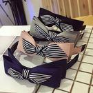 韓國高檔布藝條紋拼接蝴蝶結寬版髮箍 ACE0017