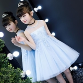 兒童公主裙夏裝女童蓬蓬紗連身裙演出服小女孩洋氣裙子藍色禮服裙
