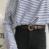 新款韓風做舊銅扣頭腰帶學生百搭簡約金屬皮帶女青少年