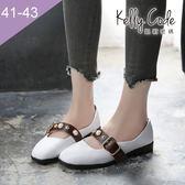 大尺碼女鞋-凱莉密碼-氣質文青風復古珍珠腳背帶小方頭平底鞋2.5cm(41-43)【APDC-10】白色