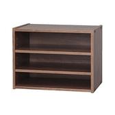 日本IRIS木質三格堆疊櫃W40H30-深木色