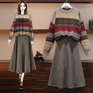 時尚穿搭毛衣上衣半身裙秋冬毛衣 千鳥格半身長裙兩件套4F048A-268.胖胖唯依