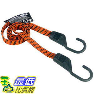 [106美國直購] Keeper 06104 固定勾繩 Ultra 48  Black Yellow Flat Bungee Cord, 2 Pack