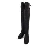 長靴-TTSNAP 性感綁帶顯瘦絨面保暖過膝靴 黑