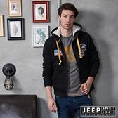 【JEEP】都市冒險經典休閒刷毛外套 (黑)