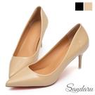 尖頭鞋 性感尤物漆皮紅底細高跟鞋-米