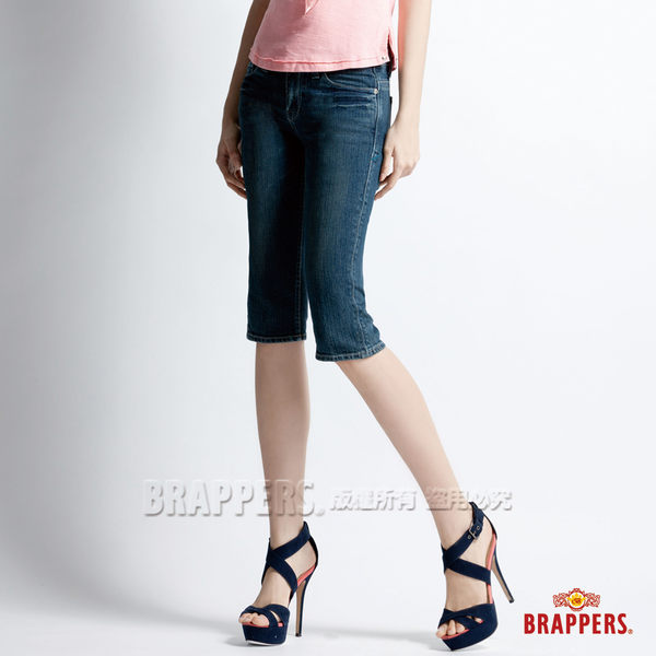 BRAPPERS 女款 新美腳Royal系列-女用彈性合身五分褲-藍
