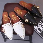新款平跟半拖鞋女舒適粗跟鞋韓版鉚釘皮帶扣包頭尖頭拖鞋
