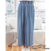 【Tiara Tiara】百貨同步ss 鬆緊腰直條紋寬版長褲(藍)