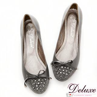 【Deluxe】OL新寵.嚴選真皮拼細絨閃耀水晶低跟包鞋(★灰)