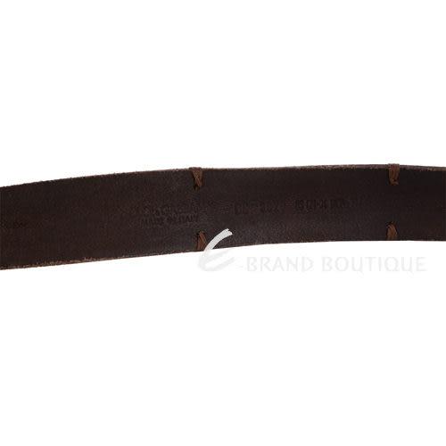 DOLCE & GABBANA 渲染壓紋皮革 車縫點綴 皮革腰帶(咖啡色) 1330088-07