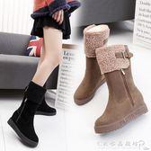 內增高女鞋韓版保暖雪地靴圓頭舒適瘦瘦小短靴時尚馬丁靴 CR水晶鞋坊
