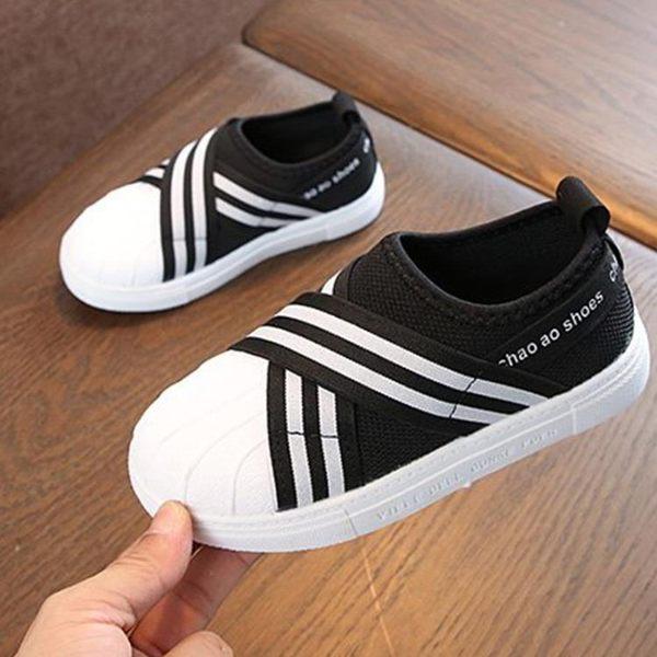 白色板鞋透氣男童女童貝殼頭板鞋綁帶一腳蹬單鞋軟底休閒鞋兒童鞋 美芭