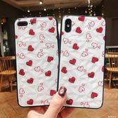 新ins風款菱形創意彩繪愛心全包軟邊立體鑚石紋手感蘋果手機殼 米希美衣