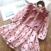 女童套裝韓版時尚毛衣連身裙中大童兩件套【聚可愛】