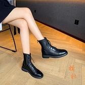 馬丁靴女顯瘦氣質短靴秋冬加絨面棉鞋中筒靴【橘社小鎮】