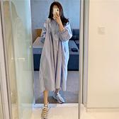 大碼洋裝~T恤裙~312韓版寬松大碼polo領過膝連身裙短袖T恤裙女N4F-C417 胖妞衣櫥