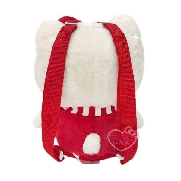 ♥小花花日本精品♥Hello Kitty 冬季條紋圍巾絨毛布偶後背包 雙肩包外出包50142002