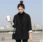 毛呢西裝外套女中長款小個子黑色大衣秋冬季韓版加厚呢子 - 風尚3C