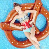 游泳圈3人個性面包圈游泳圈親子雙人充氣救生圈泳池沖浪水上浮排浮床    color shop