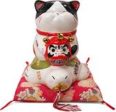 【金石工坊】黑森林波士桃花貓(高19CM)生日禮物 招財貓 達摩 陶瓷開運擺飾 撲滿存錢筒
