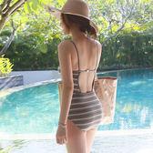 新品復古簡約性感露背吊帶三角連身游泳衣女 溫泉沙灘泳裝年貨慶典 限時鉅惠