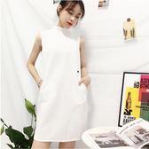 現貨出清  洋裝—韓版新款氣質OL夏季女裝半高領連身裙無袖直筒簡約白色中裙子  12-31