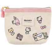 Sanrio HELLO KITTY刺繡鑲飾帆布面紙化妝包(甜蜜世界)★funbox★_15135N