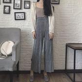 寬褲 簡約高腰絲絨拼接顯瘦闊腿褲氣質百搭休閒褲長褲 巴黎春天