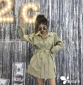 風衣外套 新款韓版寬松長袖風衣女裝秋裝中長款收腰氣質學生外套休閑潮