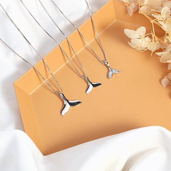 海豚人魚尾純銀項錬女韓版簡約學生森系氣質創意百搭潮頸錬鎖骨錬 自由角落