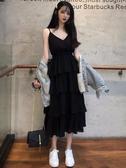 洋裝 輕熟吊帶連衣裙女氣質春裝法式復古小禮服赫本黑色蛋糕裙 芊墨左岸