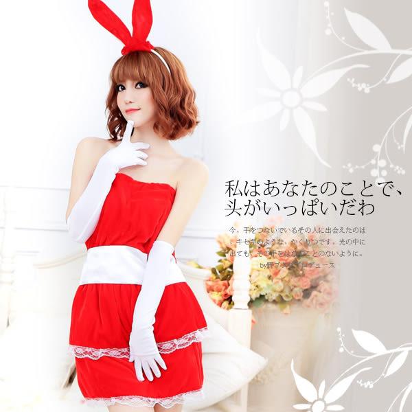 情趣用品 女性商品 絲絨質感平口澎裙兔女郎服裝4件組 2色 角色扮演服
