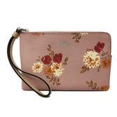 【COACH】展示品經典LOGO PVC皮革花卉手拿包零錢包(花卉粉)