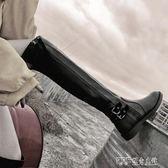 長筒靴女膝上靴薄春秋單靴平底皮靴瘦瘦騎士高筒馬靴子 探索先鋒