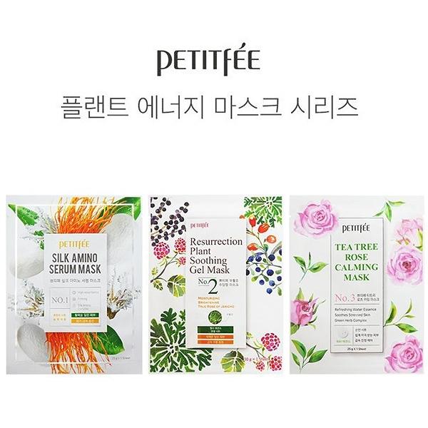 韓國 Petitfee 面膜 單片入 款式可選 茶樹玫瑰鎮靜 蠶絲胺基酸血清【YES 美妝】