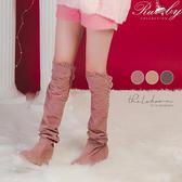 靴子 雕花麂皮內增高過膝長靴-Ruby s 露比午茶