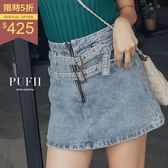 PUFII-牛仔褲裙 雙腰帶拉鍊仿舊丹寧牛仔短褲裙 2色 0823 現+預 秋【CP15010】