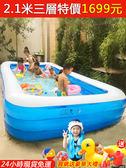 現貨 遊泳池超大號兒童充氣遊泳池加厚成人水池家庭嬰幼兒遊泳桶家用小孩泳池 MKS小宅女
