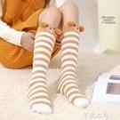 過膝襪 睡覺襪子女睡眠襪長筒及膝襪保暖珊瑚絨高筒襪冬季加厚毛絨家居襪 交換禮物