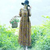 女裙 文藝復古大尺碼女裝碎花棉麻洋裝連衣裙女寬鬆顯瘦長裙